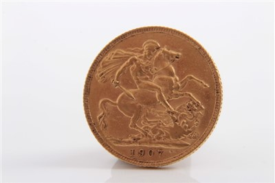 Lot 13-G.B. Edward VII gold Sovereign