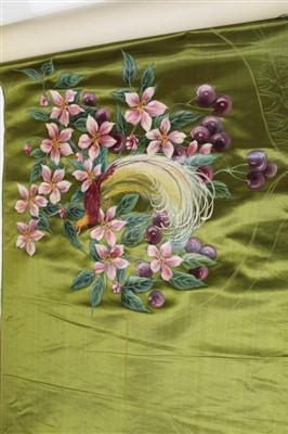 Lot 3054-Victorian hand painted silk satin panel