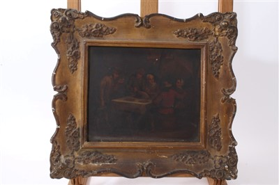Lot 44 - 19th century Dutch school oil on tin panel - figures in an interior seated at a table, in gilt frame, 16cm x 19cm