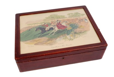 Lot 837-Good quality 19th century red leather covered jewellery box depicting the Wyndham's Fox Hounds