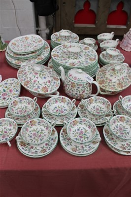 Lot 2020-Minton Haddon Hall pattern tea and dinner service to include tureens, meat plates, gravy boats, side plates etc 72 pieces