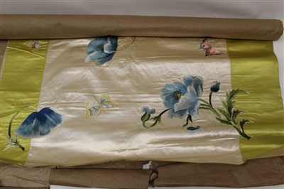 Lot 3056-Victorian hand embroidered silk satin panel 77 cm x 77 cm approx. Silk thread embroidered floral spray with ribbon ties and butterflies. on a stiffened linen backing.