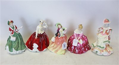 Lot 2007-Ten Royal Doulton ladies- Autumn Breezes HN2131, Flowers Of LOVE HN3709, Rachel HN2936, Linda HN3374, Victoria HN2471, Elaine HN4865, Rebecca HN4041, Gail HN2936, Elizabeth  HN5034 and Christmas Da...