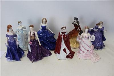 Lot 2022-Eight Royal Worcester ladies