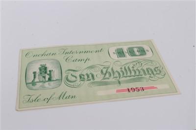 Lot 2-Isle of Man – Onchan Internment Camp Ten Shillings banknote