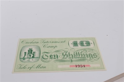 Lot 3-Isle of Man – Onchan Internment Camp Ten Shillings banknote