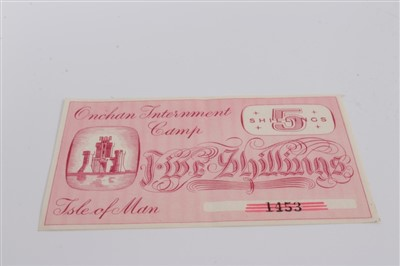Lot 4-Isle of Man – Onchan Internment Camp Five Shillings banknote