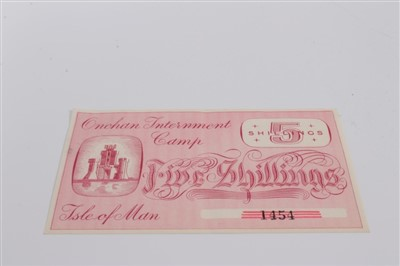 Lot 5-Isle of Man – Onchan Internment Camp Five Shillings banknote