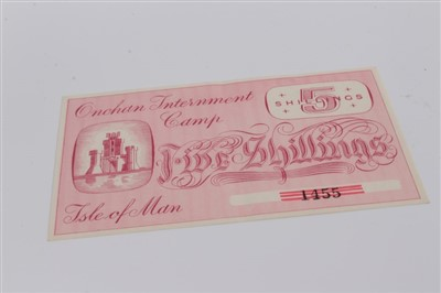 Lot 6-Isle of Man – Onchan Internment Camp Five Shillings banknote