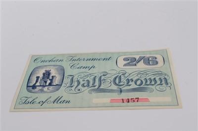 Lot 8-Isle of Man – Onchan Internment Camp Half Crown banknote