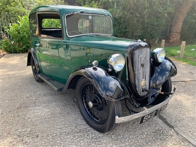 Lot 2950-1934 Austin 7 Ruby Saloon, Finished in Green with a Black Interior, Reg. No. BKB 739. An attractive Pre War Austin, benefiting from recent work to the brakes and king pins and supplied with history...