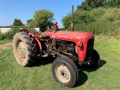 Lot 2954-1960 Massey Ferguson 35 (FE - 35), 3 Cylinder Perkins Diesel Tractor, Reg. No. 389 TVX (V5 Document Present), 6588 indicated hours, in good running order with recently replaced front tyres, togethe...