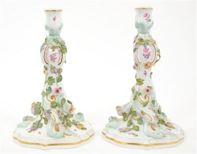 Lot 7-Pair of 19th century Meissen candlesticks