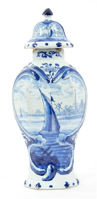 Lot 5-18th century Delft blue & white vase and cover