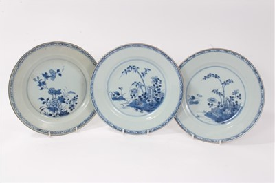 Lot 19-Three 18th century Chinese blue and white export dishes