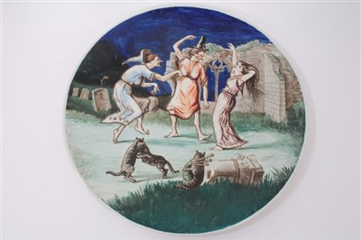 Lot 9-Large painted charger with Witches Frolic, from Ingoldsby Legends