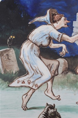 Lot 9 - Large painted charger with Witches Frolic, from Ingoldsby Legends