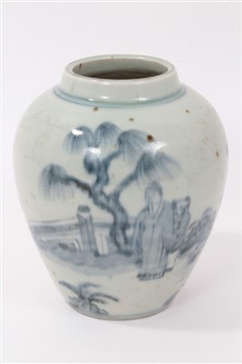 Lot 10-Chinese Provincial blue and white vase figural ornament