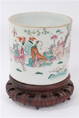 Lot 15-19th century Chinese famille rose brush pot