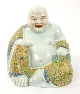 Lot 23-Late 19th century Chinese famille rose figure of Butal, the corpulent monk