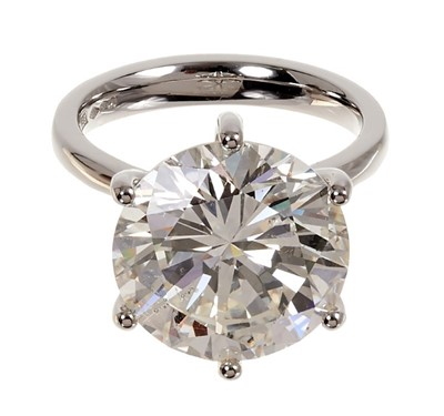 Lot 406 - A fine diamond single stone ring with a brilliant cut diamond weighing 10.83 carats, accompanied by an Anchorcert Diamond Report dated 16th August 2019 stating the weight, colour K, clarity SI1, cu...