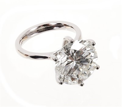 Lot 406-A fine diamond single stone ring with a brilliant cut diamond weighing 10.83 carats, accompanied by an Anchorcert Diamond Report dated 16th August 2019 stating the weight, colour K, clarity SI1, cu...
