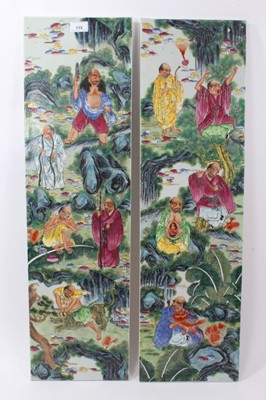 Lot 49-Pair of 20th century Chinese porcelain panels