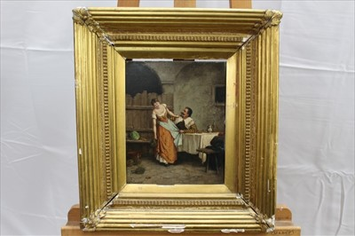 Lot 23-Italian School, 19th century, oil on panel - a courtyard trist, bearing signature P. Vasco and date 1887, in gilt frame, 25.5cm x 20.5cm