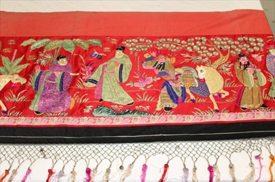 Lot 3050-Chinese embroidered silk banner, early 20th century.  Depicting Emperor, Empress, Gods and Deities.  Silk satin stitch with couched metal thread outlines.