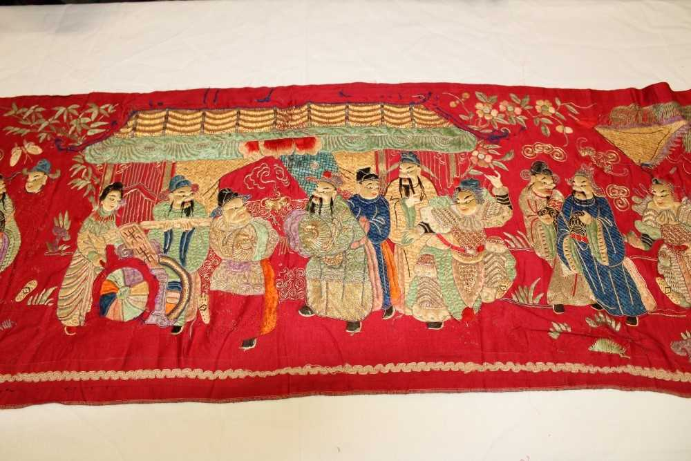 Lot 3052-Chinese embroidered silk banner with wise men and deities in pagoda, horses butterflies, bat and other symbols in garden scene. Silk stain stitch with metal thread outlines. Unlined.