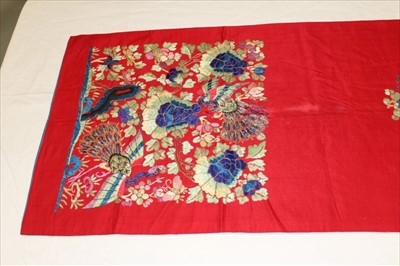 Lot 3053-Chinese embroidered silk banner. Flowers and peacocks worked in silk stain stitch with couched outlines. Blue cotton lining with black calligraphy.