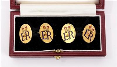 Lot 2 - H.M. The Queen Elizabeth II - fine pair gold (9ct) and enamel Royal presentation cufflinks.