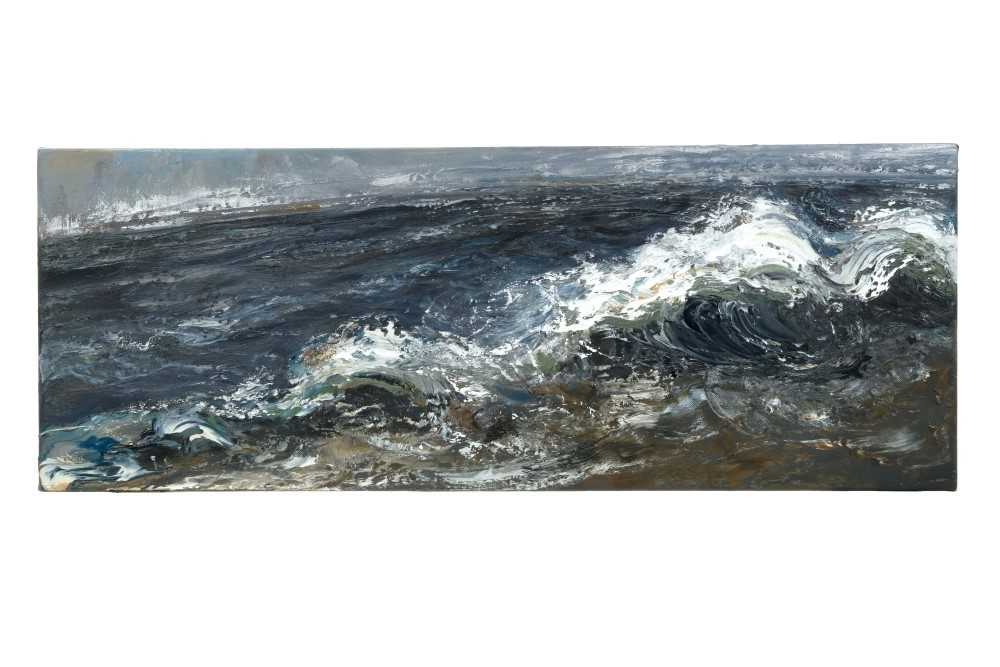 1432 - *Maggi Hambling (b.1945) oil on canvas - Dark Morning, signed verso and dated '05, , 30cm x 80cm