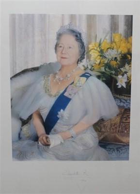 Lot 85 - HM Queen Elizabeth The Queen Mother - large signed presentation portrait photograph