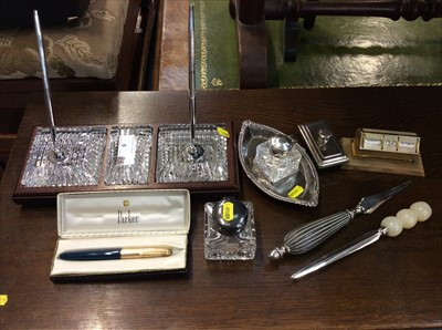 Lot 8-Waterford Crystal desk set and sundry desk accessories