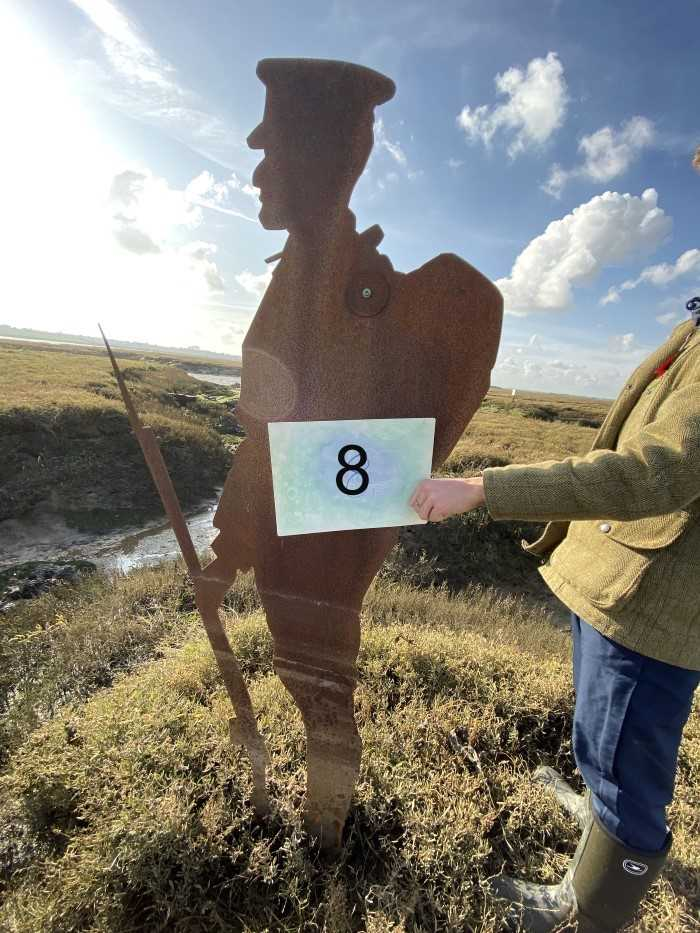 Lot 2942-Colchester Interest- Steel Silhouette of a First World War Soldier, part of the 'Strood Soldiers' Centenary of the Armistice Installation on the Strood between Colchester and Mersea Island, each fi...