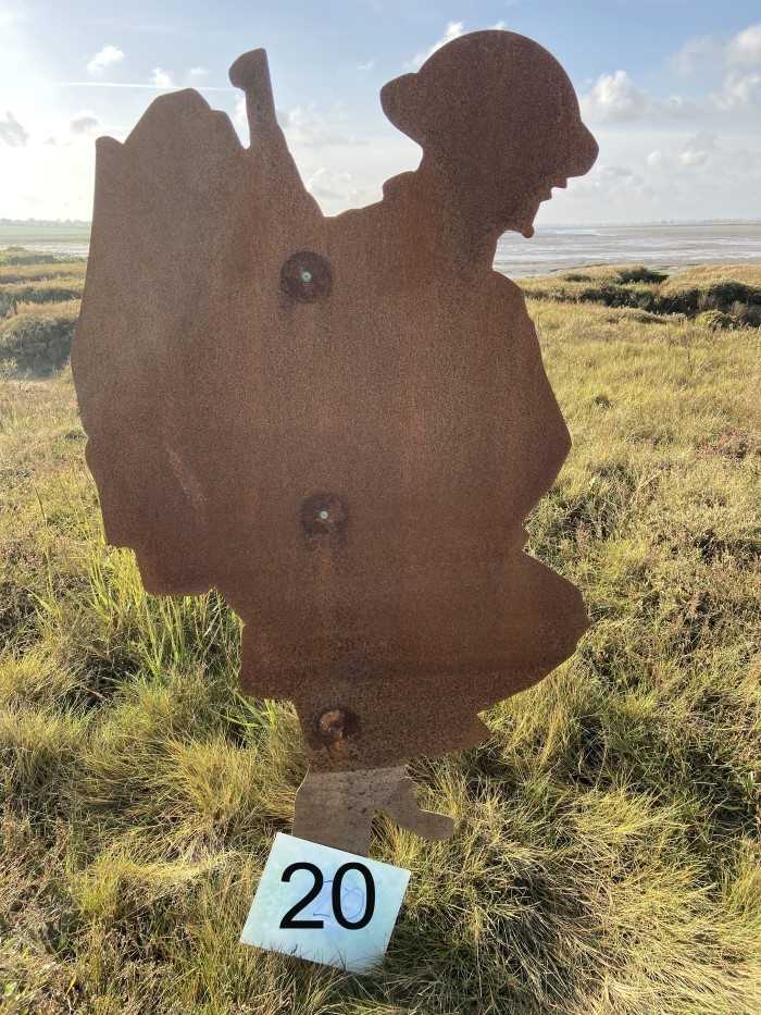 Lot 2944-Colchester Interest- Steel Silhouette of a First World War Soldier, part of the 'Strood Soldiers' Centenary of the Armistice Installation on the Strood between Colchester and Mersea Island, each fi...