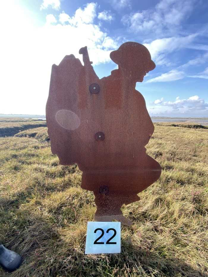 Lot 2945-Colchester Interest- Steel Silhouette of a First World War Soldier, part of the 'Strood Soldiers' Centenary of the Armistice Installation on the Strood between Colchester and Mersea Island, each fi...