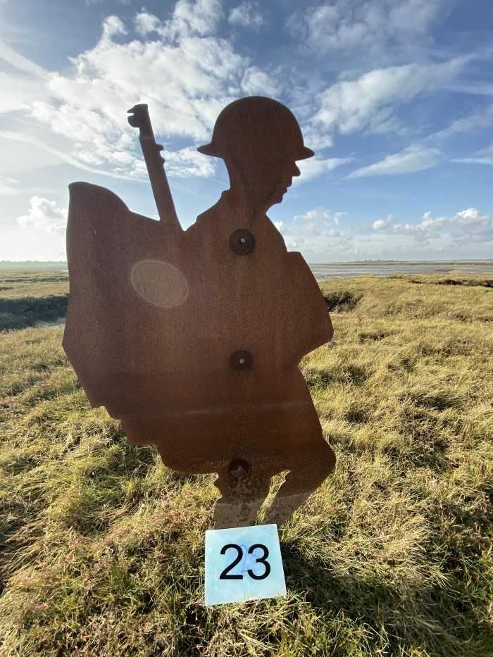 Lot 2946-Colchester Interest- Steel Silhouette of a First World War Soldier, part of the 'Strood Soldiers' Centenary of the Armistice Installation on the Strood between Colchester and Mersea Island, each fi...