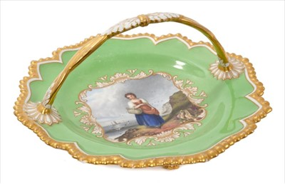 Lot 4-Good early 19th century Worcester Flight Barr & Barr basket, circa 1825, painted with a scene entitled 'The Fisherman's Daughter', on pale green ground with gilded pie crust edge, handle and four p...