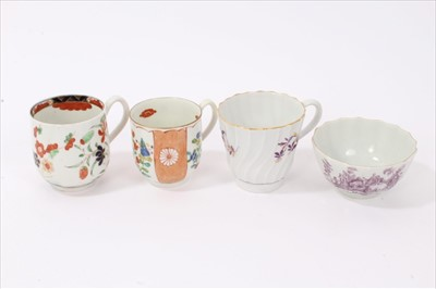Lot 22-Four 18th century Worcester cups and tea bowls, to include a polychrome painted Kempthorn pattern cup, circa 1760, with pseudo-Chinese mark to base, a polychrome cup, circa 1765, painted with the J...