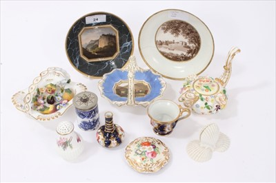 Lot 24-Collection of 18th and 19th century English porcelain, to include a Flight & Barr saucer with painted landscape scene on marbled ground, a further Flight & Barr saucer painted  en grisaille with a...