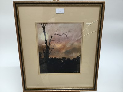 Lot 19-*Clive Madgwick, moonlit tree line, watercolour and bodycolour