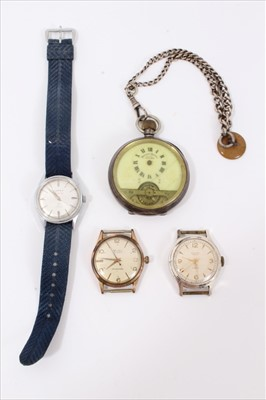 Lot 20-Silver cased Hebdomas pocket watch on silver watch chain, MuDu wristwatch and two others (4)