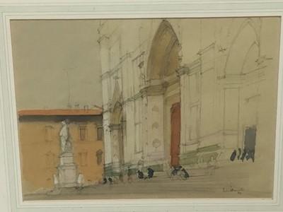 Lot 7-Patrick Hamilton (born 1923) -pair of pencil and watercolours- Cathedral steps and bridge