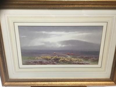 Lot 3-Charles Edward Brittan (1870-1949) watercolour - Moorland landscape, 24cm x 39cm