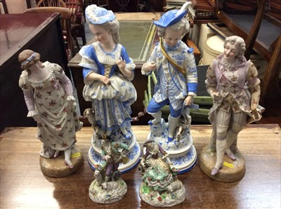 Lot 20-Pair of Sitzendorf porcelain figures and four others