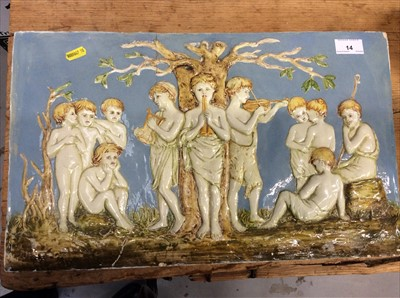 Lot 14-19th century relief moulded figural tile