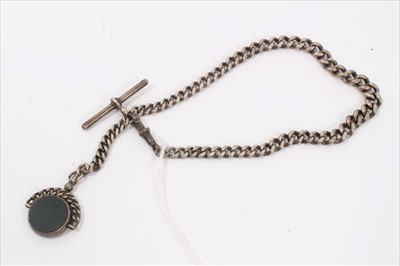 Lot 21-Silver Albert chain with bloodstone fob