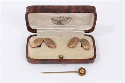 Lot 22-Pair 9ct gold cufflinks in fitted case and Victorian gold stick pin